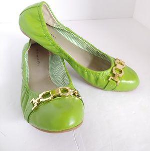 Tahari Ta-Vera Chartreuse Leather Flats